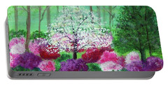 Portable Battery Charger featuring the painting Springtime Azaleas In Georgia by Sonya Nancy Capling-Bacle