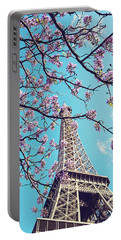 Springtime In Paris - Eiffel Tower Photograph Portable Battery Charger by Melanie Alexandra Price