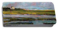 Portable Battery Charger featuring the painting Springtime In The Marsh by Michael Helfen