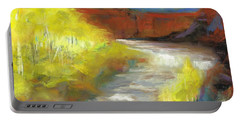 Portable Battery Charger featuring the painting Springtime In The Rockies by Frances Marino