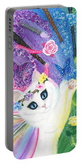 Portable Battery Charger featuring the painting Springtime Magic - White Fairy Cat by Carrie Hawks