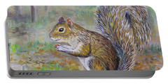 Portable Battery Charger featuring the painting Spunky Squirrel by Lou Ann Bagnall