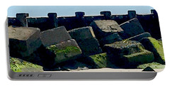 Square Mossy Blocks At Jetty  Portable Battery Charger