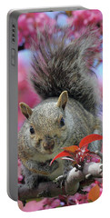 Portable Battery Charger featuring the photograph Squirrel In Apple Blossoms by Doris Potter