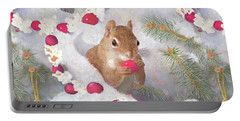Portable Battery Charger featuring the painting Squirrel In Snow With Cranberries by Nancy Lee Moran