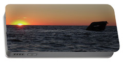 S.s. Atlantus At Sunset Portable Battery Charger by Greg Graham