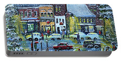 Portable Battery Charger featuring the painting Snowing In Concord Center by Rita Brown