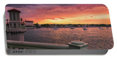 St. Augustine Bridge Of Lions Watercolor Sunset Portable Battery Charger