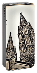 St Boniface Church Towers Sepia Portable Battery Charger by Sarah Loft