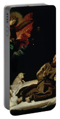 St Francis Comforted By An Angel Musician Portable Battery Charger