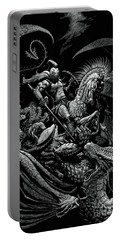Portable Battery Charger featuring the drawing St. George And The Dragon by Stanley Morrison