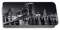 St Johns River Skyline By Night, Jacksonville, Florida In Black And White Portable Battery Charger