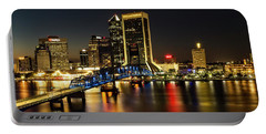 St Johns River Skyline By Night, Jacksonville, Florida Portable Battery Charger