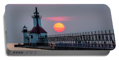 Portable Battery Charger featuring the photograph St. Joseph Lighthouse At Sunset by Adam Romanowicz