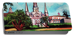 Portable Battery Charger featuring the painting St. Louis Catheral New Orleans Art by Ecinja Art Works