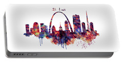 Portable Battery Charger featuring the digital art St Louis Skyline by Marian Voicu
