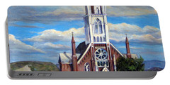 Portable Battery Charger featuring the painting St. Mary Of The Mountains by Donna Tucker