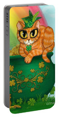 Portable Battery Charger featuring the painting St. Paddy's Day Cat - Orange Tabby by Carrie Hawks