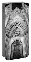 St Patrick's Cathedral Door Black And White  Portable Battery Charger