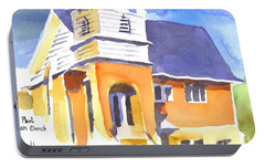 Portable Battery Charger featuring the painting St. Paul Lutheran 3 Impressions by Kip DeVore