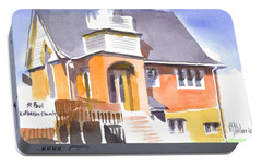 Portable Battery Charger featuring the painting St Paul Lutheran In Watercolor 2 by Kip DeVore