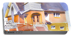 Portable Battery Charger featuring the painting St. Paul Lutheran Ironton Missouri by Kip DeVore