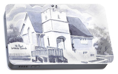 Portable Battery Charger featuring the painting St. Paul Lutheran Church 2 by Kip DeVore