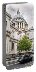 St Pauls Cathedral With Black Taxi Portable Battery Charger