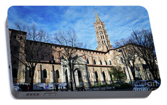 Portable Battery Charger featuring the photograph St Sernin Basilica by Cendrine Marrouat