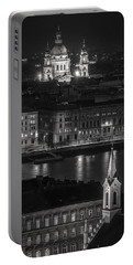 St Stephens Basilica Night Bw Portable Battery Charger