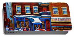 St Viateur Bagel With Hockey Montreal Winter Street Scene Portable Battery Charger