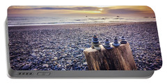Stacked Rocks At Sunset Portable Battery Charger