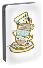 Stacked Teacups Portable Battery Charger by Priscilla Wolfe