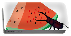 Stag Beetle Is Eating A Piece Of Red Watermelon Portable Battery Charger