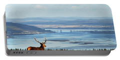 Stag Overlooking The Beauly Firth And Inverness Portable Battery Charger