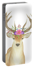Portable Battery Charger featuring the painting Stag Watercolor  by Taylan Apukovska