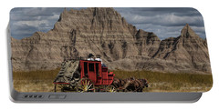 Stage Coach In The Badlands Portable Battery Charger by Randall Nyhof