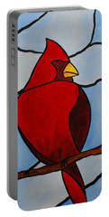 Stained Glass Cardinal Portable Battery Charger