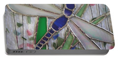Stained Glass Dragonfly In Reeds By Karen J Jones Portable Battery Charger