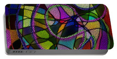 Portable Battery Charger featuring the digital art Stained Glass Father Mother Child by Iowan Stone-Flowers