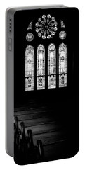 Stained Glass In Black And White Portable Battery Charger
