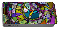 Portable Battery Charger featuring the digital art Stained Glass Mother And Child by Iowan Stone-Flowers
