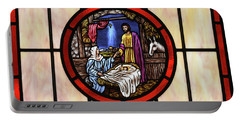 Stained Glass Nativity Window Portable Battery Charger