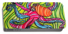 Portable Battery Charger featuring the drawing Stained Glass Octopus by Justin Moore