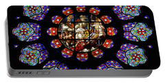 Stained Glass Rose Window Of Joinville Portable Battery Charger