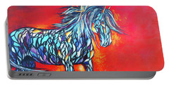 Stained Glass Stallion Portable Battery Charger by Karen Kennedy Chatham