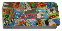 Stained Newspaper Pages Portable Battery Charger