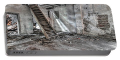 Portable Battery Charger featuring the photograph Stair In Old Abandoned  Building by Michal Boubin
