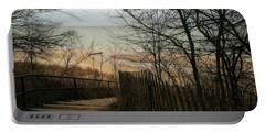 Portable Battery Charger featuring the photograph Stairs To The Beach In Winter by Michelle Calkins