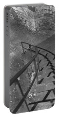 Stairway In Black And White Portable Battery Charger